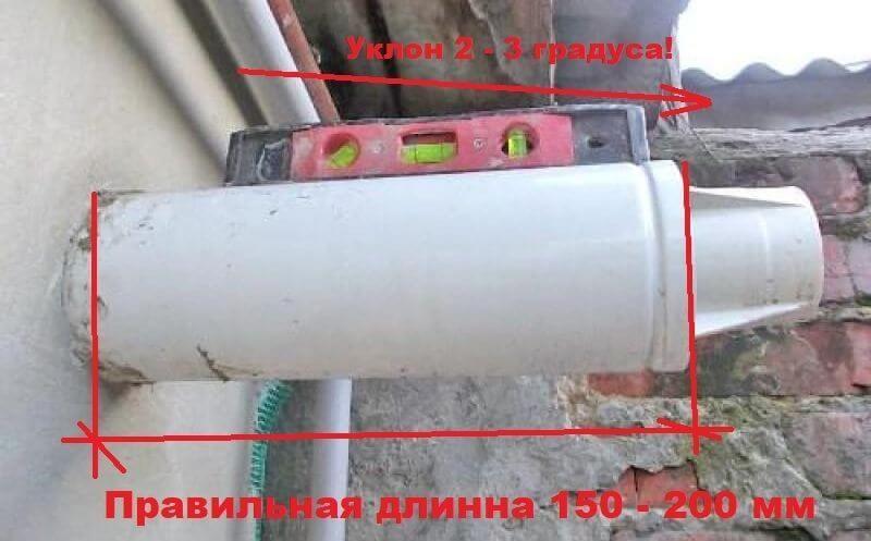 Наклон коаксиальной трубы газового котла