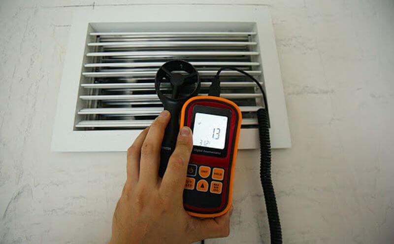 как проверить вентиляцию анемометром